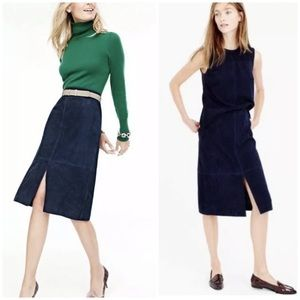 J. Crew Collection Suede leather midi skirt